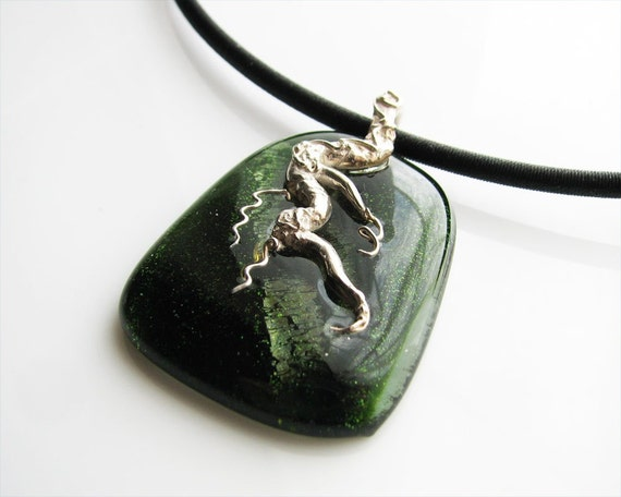 Necklace Fine Silver Branch Design on Emerald Green