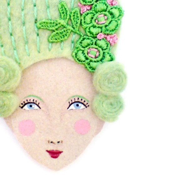 Felt brooch - Mary Antoinette, conversation piece, pistachio, bright green, woman face, wearable art