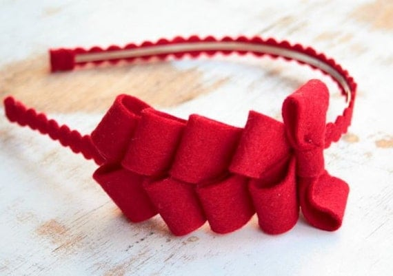 Ribbon candy headband in red SALE