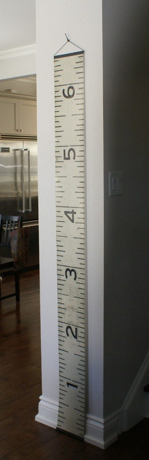 Vinyl Black and White Wooden Ruler Growth Chart