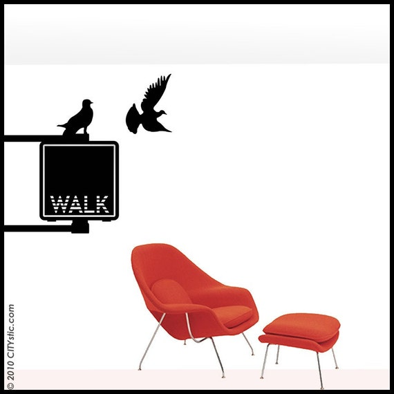 NYC : WALL DECAL - Walk Sign for pedestrian with pigeon.