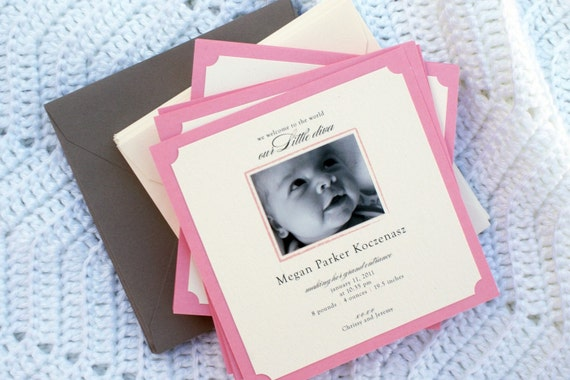 Pink & Grey Baby Girl Photo Birth Announcements - Square, Elegant, Preppy - Set of 50