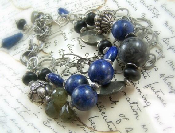 Chunky Gemstone Bracelet Sterling Silver Lapis Lazuli Labradorite Onyx Pyrite Pewter Charms - Blue Lagoon