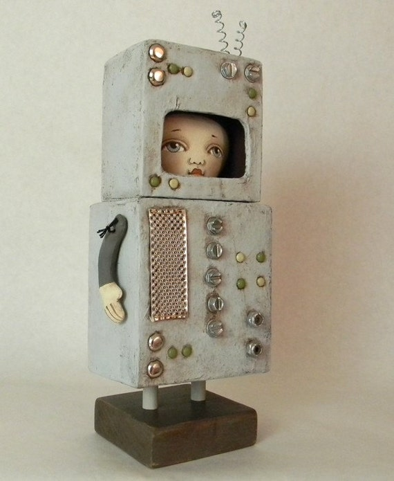 Robot Costume-- Original Contemporary Folk Art Doll-- Made to order within a week