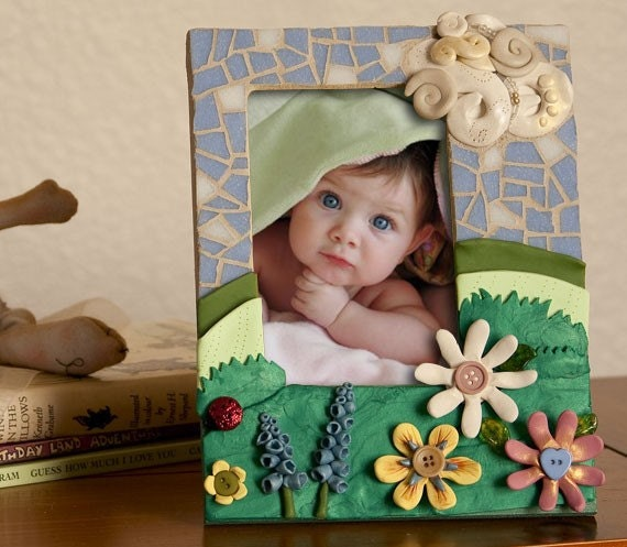 Mosaic Flower Picture Frame - Great for a baby nursery or children's room decor