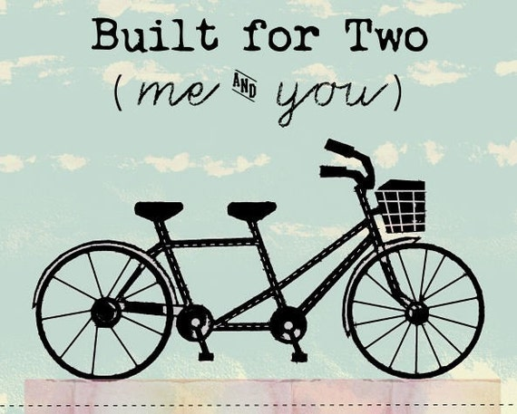 Tandem Bicycle Art Print For Wedding, Anniversary, And Couples In Love