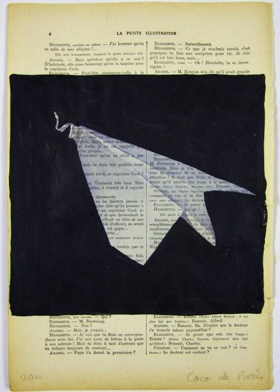 """Бумажный самолет, оригинальные произведения искусства ручной росписью Смещаная 'La Petit Иллюстрация """"1920 известный журнал Parisien Коко De Paris"""
