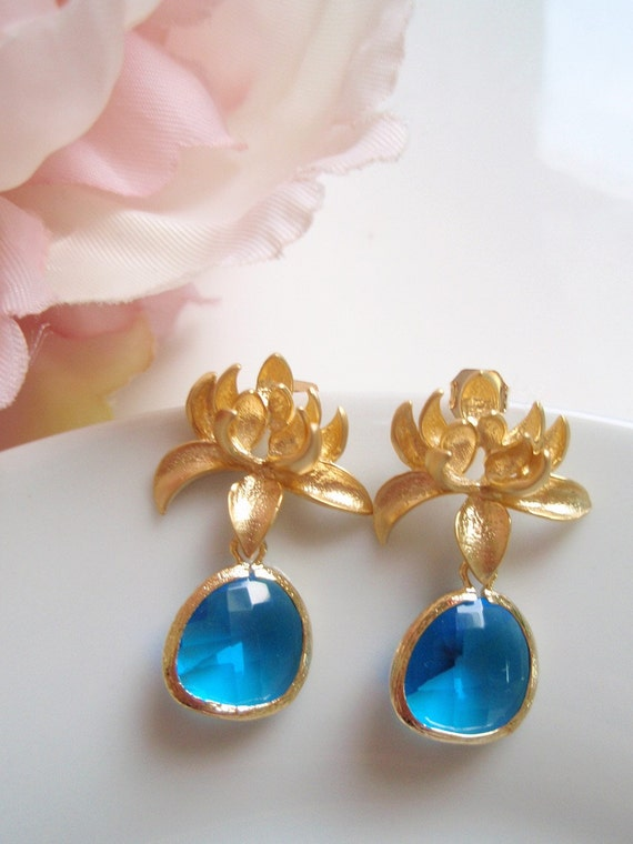 Gold Dahlia Flower - Capri Blue Earrings