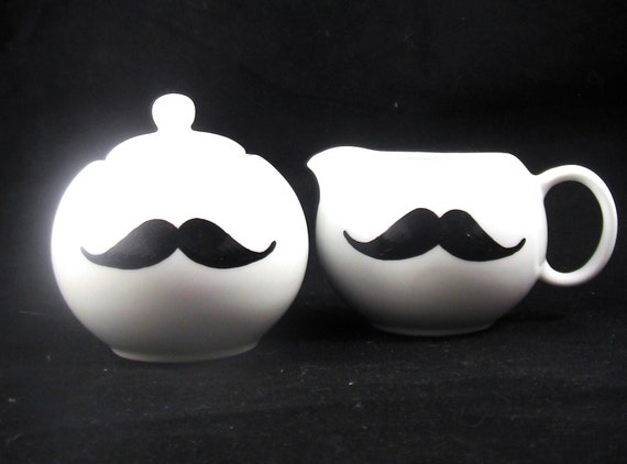 Gentlemans Tea time Sugar and Creamer Pot Mustache set handpainted