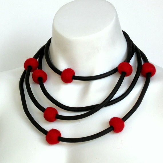 rubber necklace, red felt necklace, rubber jewelry, modern jewelry, red felt balls
