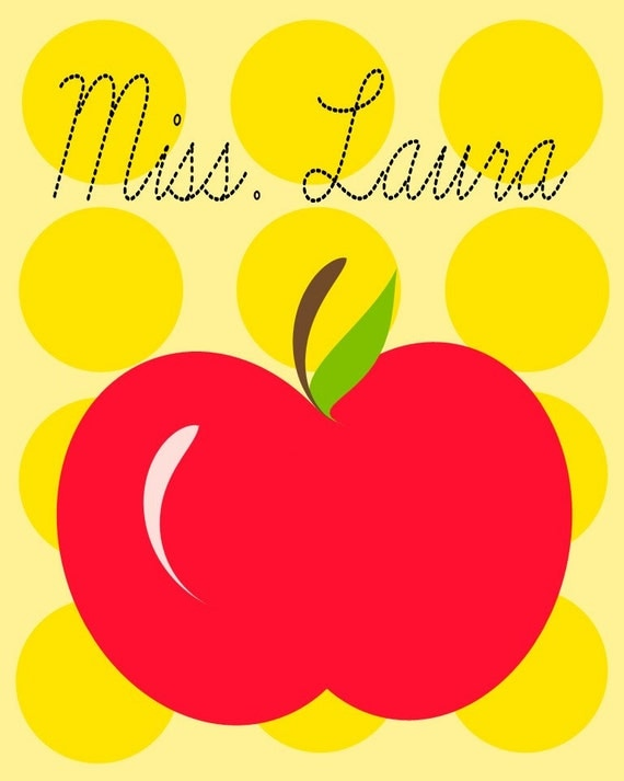 Yellow Polkadot Red Apple Teacher Print