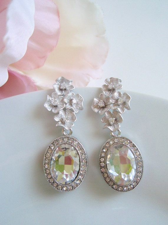 MAIVE - White Gold and Crystal Vintage Inspired Earrings