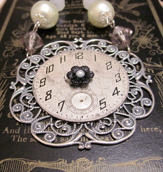 Gone but Not Forgotten Antique  Repurposed Clock Face and Pearl Steampunk  Necklace FREE SHIPPING