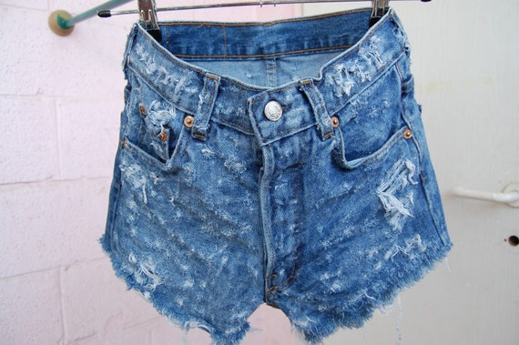 501' frayed dark blue levis cut offs size 27""