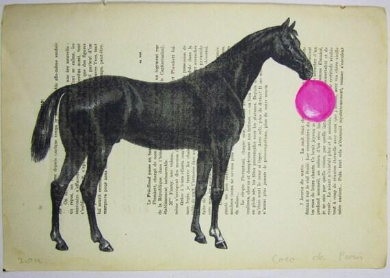 """Лошадь с жевательная резинка - оригинальные произведения искусства Mixed Media, ручная роспись, подписанный 'La Petit Иллюстрация """"1914 Parisien Magazine"""