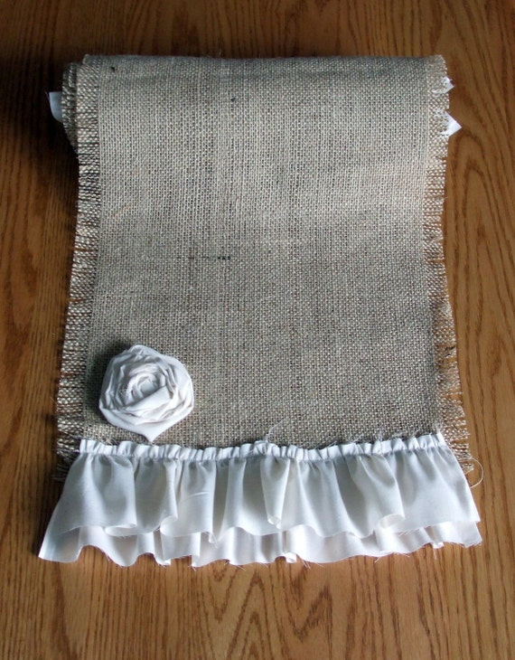 "Burlap Table Runner - Ruffled 12""x71"" (Custom sizes also available) Tablerunner"