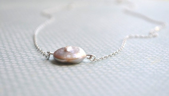 Single White Pearl Necklace - large freshwater coin pearl & sterling silver - adencreations