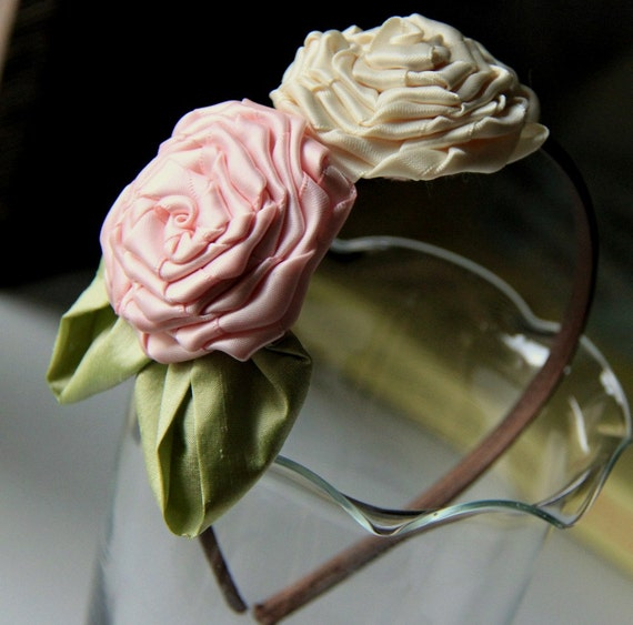 Faith - Hair band with satin twisted roses and silk leaves