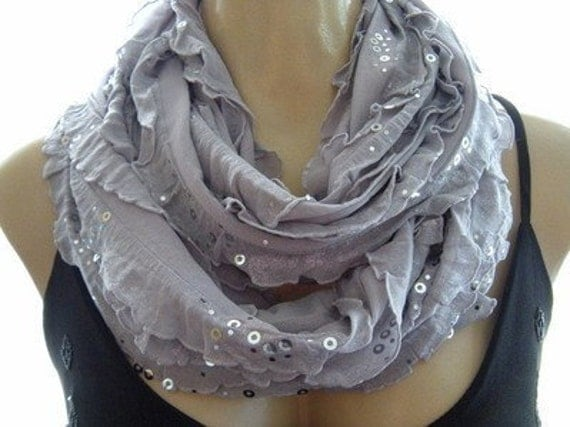 Limited time only...Glamorous Gray......Flamenco..Necklace Scarf....Silver dusted and sequined....Le dernier cri...