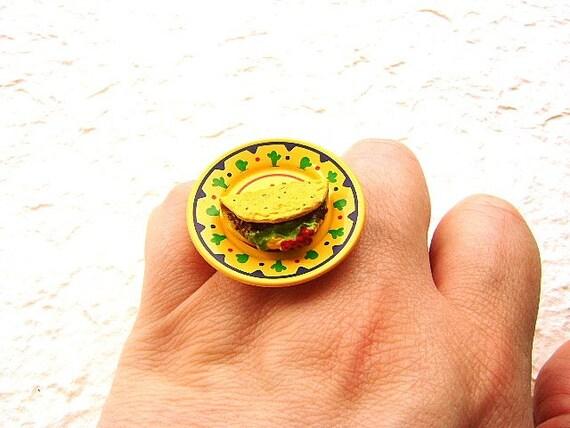Kawaii Симпатичные японские кольца мексиканской Taco