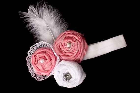 Rosette Headband with Feather