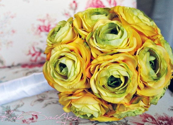 Large Yellow Ranunculus Silk Wedding Bouquet