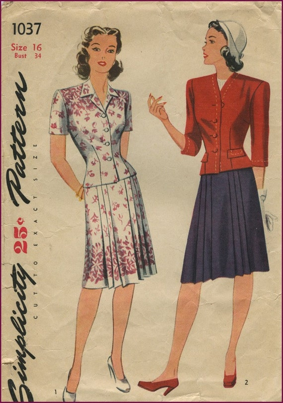 1940s two piece Swing dress 34 bust