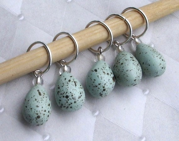 Stitch Markers - Robin's Eggs - Set of 5
