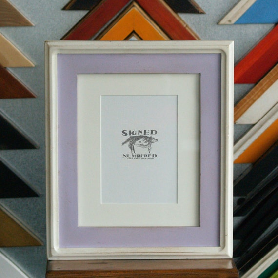 8x10 Picture Frame with Vintage Lilac Finish in Vintage White Double Cove Build Up