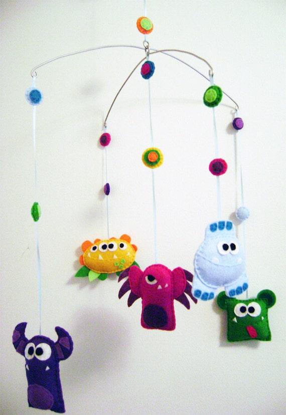 Baby Mobile Felt - Monster Mayhem - Made to Order -  Home Decor Nursery