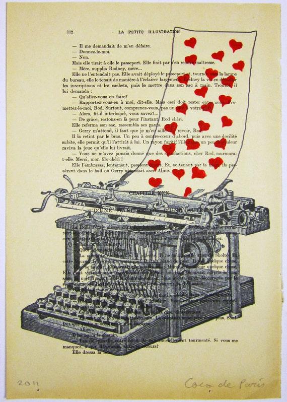 """Любовь письмо, оригинальные произведения искусства Mixed Media, Ручная роспись на """"La Petit Иллюстрация"""" 1920 известный журнал Parisien"""