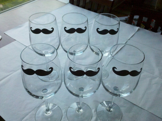 Set of 6 Chalkboard Mustache wine glass