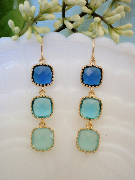 Royal Blue, Turquoise  and Aqua Blue CZ Gold Earrings