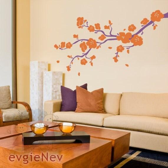 Vinyl Wall Decals - Elegant Cherry Blossoms Branch Wall Sticker - Children Baby Kid Nursery Boy Girl - BRCB010L