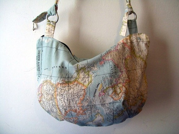 World Map Fabric Handbag