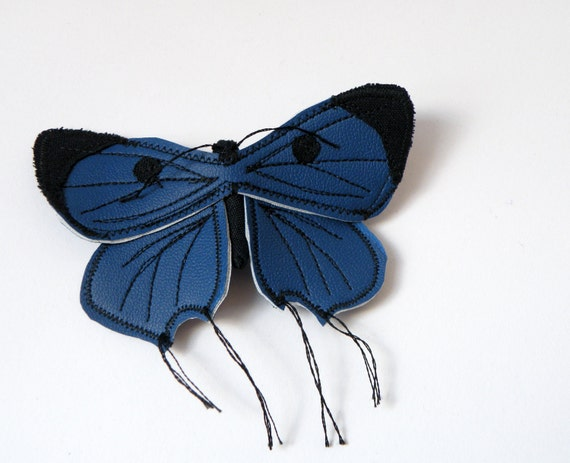 Handmade Faux Leather Butterfly Brooch Blue and Black