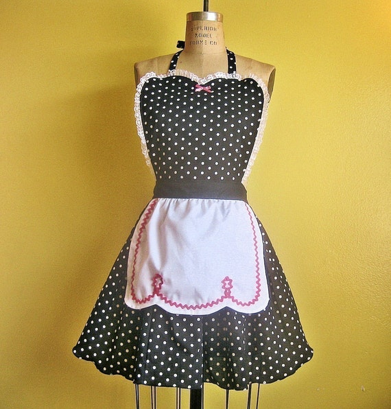 Retro APRON I Love Lucy black polka dot sexy hostess apron vintage inspired