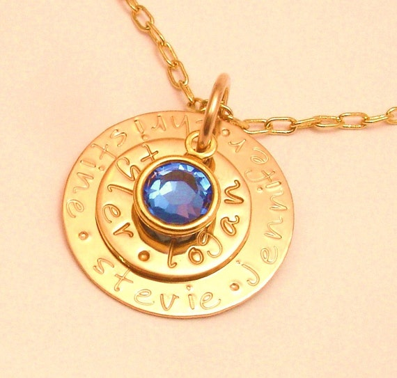MINI MOMMY Family Story Necklace .... or Personalized Graduation Jewelry....14K GOLD Pendant .... Free Shipping