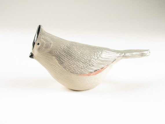 Ceramic Pottery Bird Sculpture Figure Black Crested Titmouse Hand Formed
