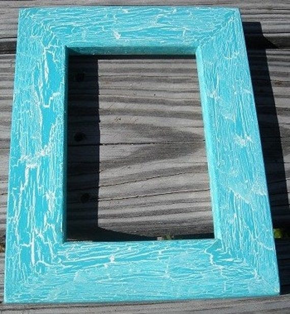10x13 or 11x14 Picture Frame, Caribbean Blue And White Crackle Style