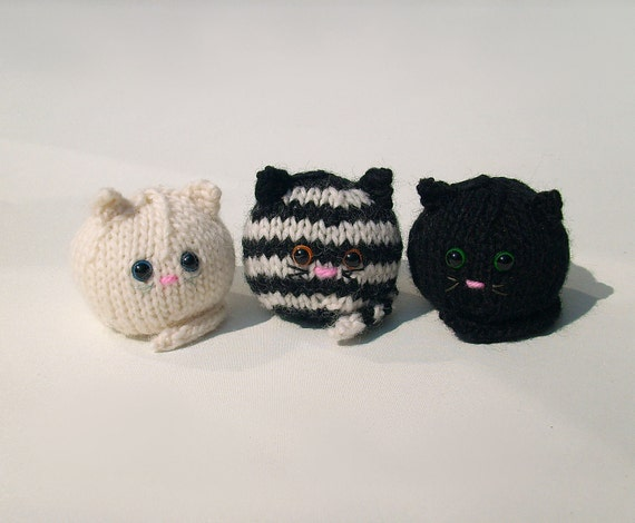 Knit cat amigurumi trio handmade collectible miniature by ...