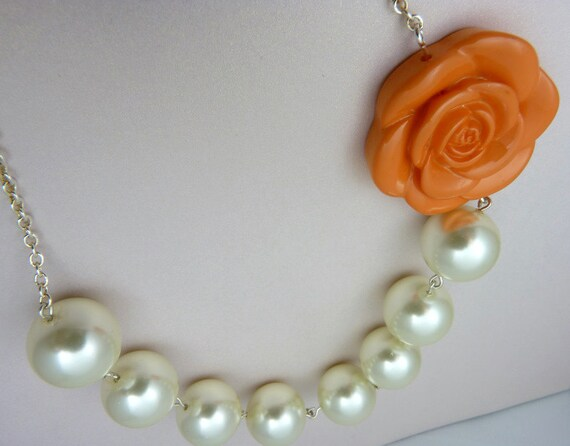 Dramatic Orange Pearl Necklace