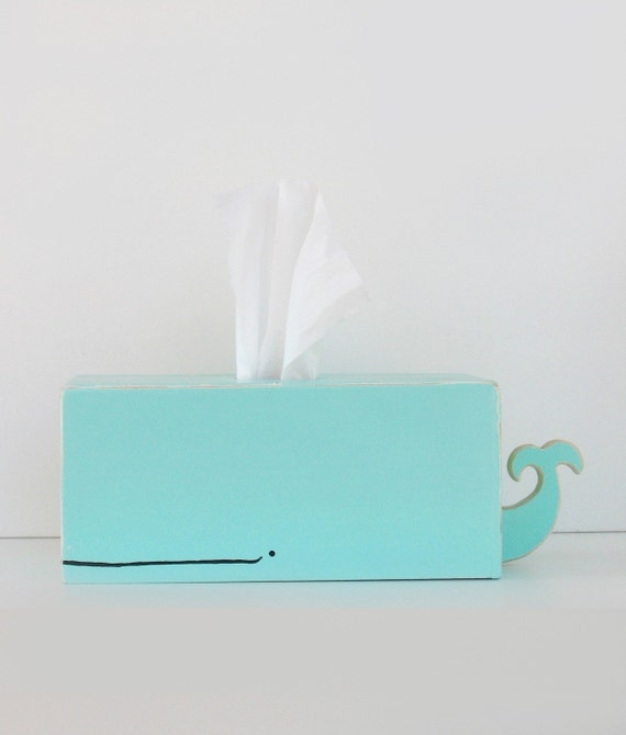 Whale Tissue Holder - Light Blue