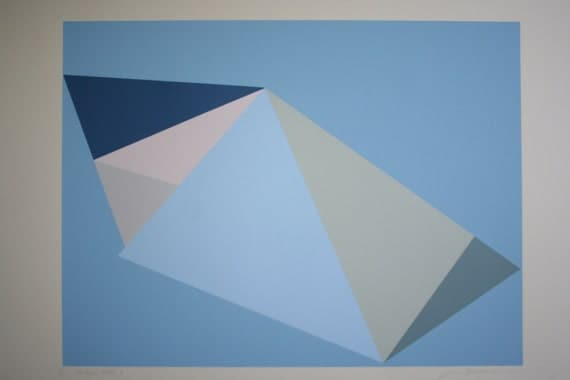 Large blue handmade geometric screenprint on lovely grey velvet paper