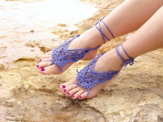 Crochet Butterfly LAVENDER Barefoot Sandals, Nude shoes, Wedding, Victorian Lace, Sexy, Lolita, Yoga, Bellydance, Steampunk, Beach Pool