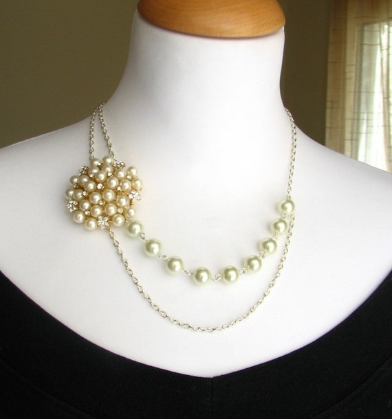 Pearl Necklace, Bridal Jewelry, Crystal Necklace, Wedding Jewelry