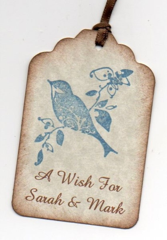 50 Handmade Wedding Wish Tags Wedding Favor Tags Blue Bird Personalized