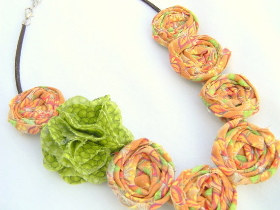 orange fabric rosette necklace
