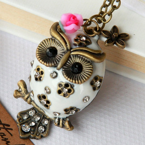 vintage cute big belly owl Necklace, with pink flower, the tail can moveable