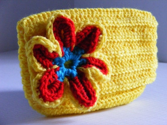 Yellow Red and Blue Flower Mini Clutch